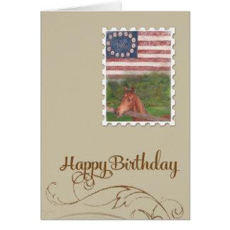 Cartão Aniversário ilustrado das estrelas & das listras
