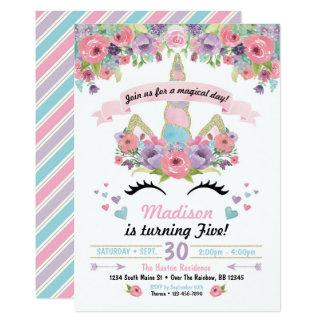 Cartão Aniversário Invitativitation do unicórnio