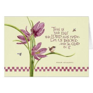Cartão Aniversário/lírio Checkered