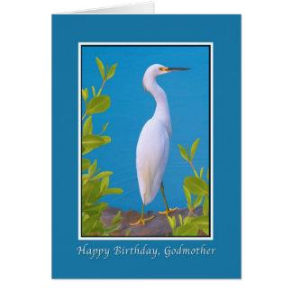 Cartão Aniversário, madrinha, Egret nevado