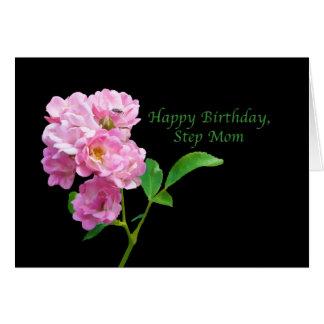 Cartão Aniversário, mamã da etapa, rosas cor-de-rosa do