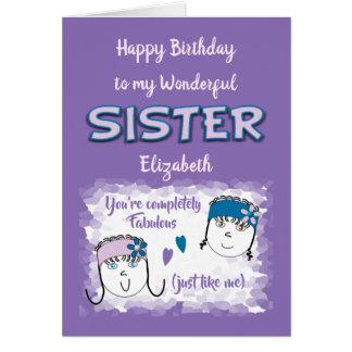 Cartão Aniversário maravilhoso do roxo da irmã