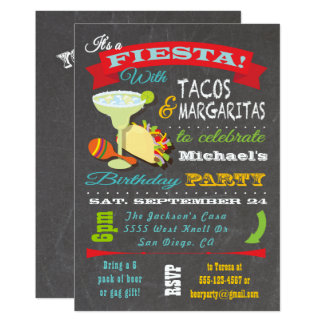 Cartão Aniversário mexicano do Tacos e da festa de
