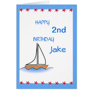 Cartão Aniversário náutico do veleiro de Litte