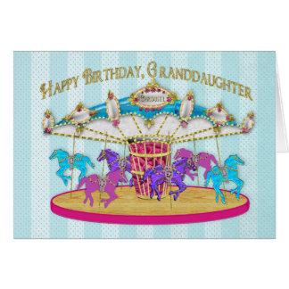 Cartão Aniversário - neta - carrossel -