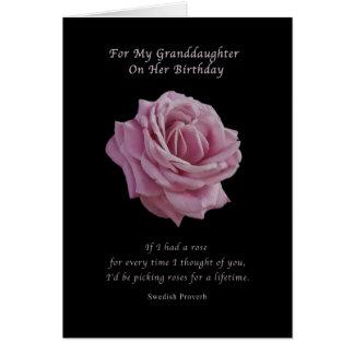 Cartão Aniversário, neta, rosa do rosa no preto