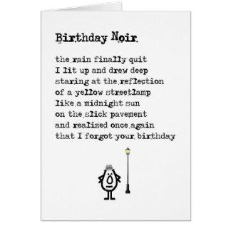 Cartão Aniversário Noir - um poema tardivo engraçado do