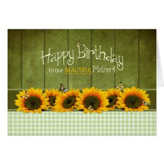 Cartão Aniversário - NOSSA MÃE - girassóis e borboletas