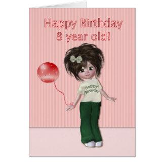 Cartão Aniversário para a criança de oito anos