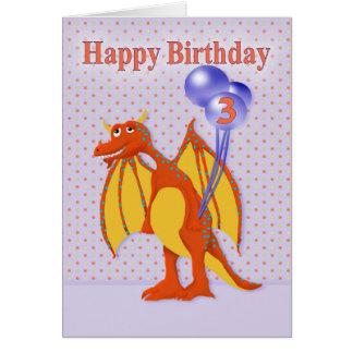 Cartão Aniversário para a criança de três anos com dragão