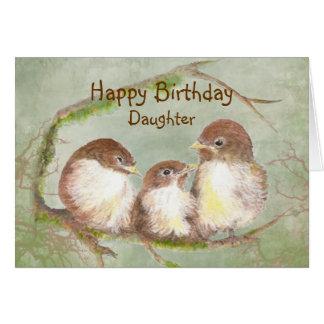 Cartão Aniversário para a família de pássaro bonito do