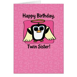 Cartão Aniversário para a irmã gêmea - pinguim pequeno do