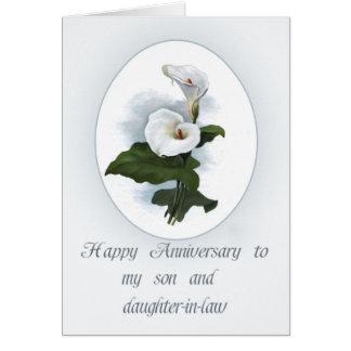 Cartão Aniversário para o filho com lírios de Calla
