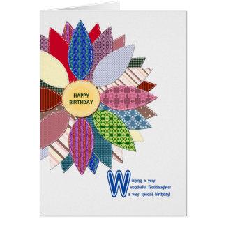 Cartão Aniversário para o goddaughter, flor costurada