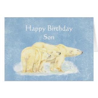 Cartão Aniversário para ursos polares do filho especial