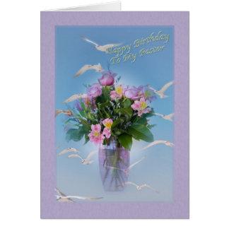 Cartão Aniversário, pastor, flores e pássaros