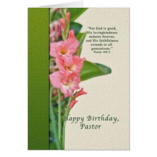 Cartão Aniversário, pastor, tipo de flor cor-de-rosa