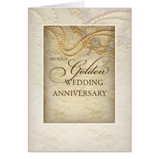 Cartão Aniversário, pérolas e laço de casamento do ouro