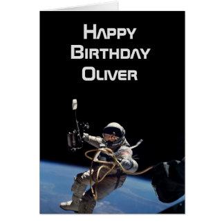 Cartão Aniversário pessoal da caminhada do espaço do