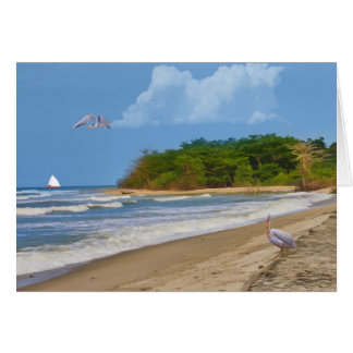 Cartão Aniversário, praia tropical, pássaros