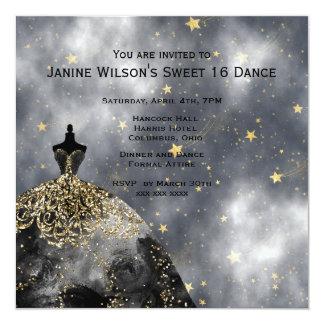 Cartão Aniversário preto do preto Sweet16 do ouro do