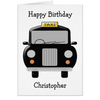 Cartão Aniversário preto personalizado do táxi