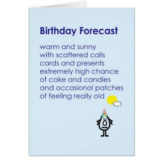 Cartão Aniversário previsto - um poema engraçado do