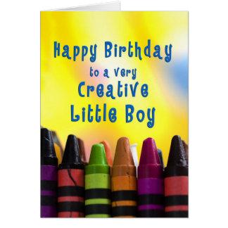 Cartão aniversário - rapaz pequeno - pastéis