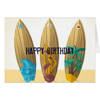 Cartão Aniversário retro da praia do verão do trio da