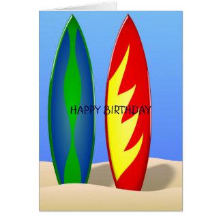 Cartão Aniversário retro do surf das prancha