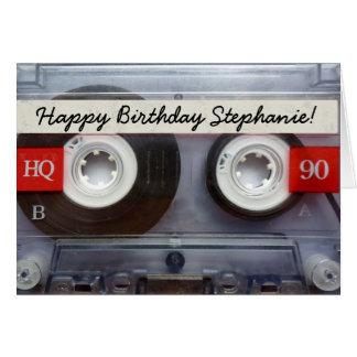 Cartão Aniversário retro personalizado da cassete de