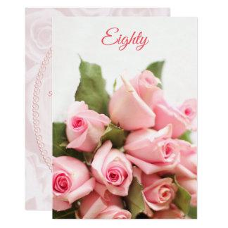 Cartão Aniversário romântico do 80 do buquê do rosa do