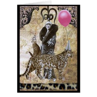Cartão Aniversário selvagem - Sra. Ocelot