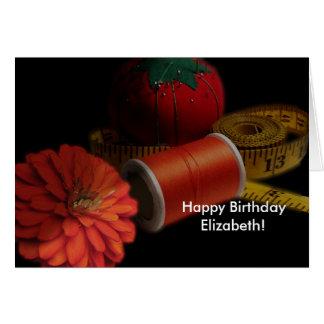 Cartão Aniversário Sewing das fontes