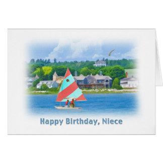 Cartão Aniversário, sobrinha, veleiro em um lago, náutico