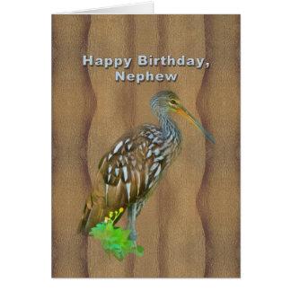 Cartão Aniversário, sobrinho, pássaro do pântano de