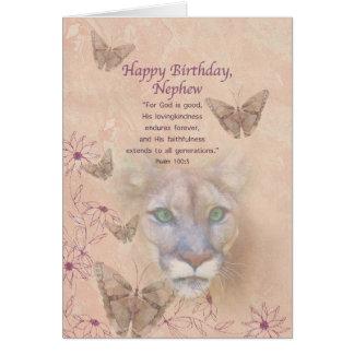 Cartão Aniversário, sobrinho, puma e borboletas
