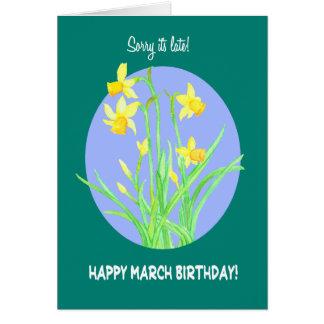 Cartão Aniversário tardivo de março dos Daffodils bonito