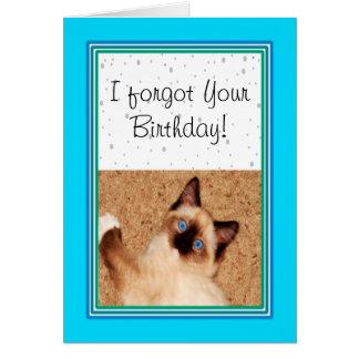 Cartão Aniversário tardivo feliz do gatinho de Ragdoll