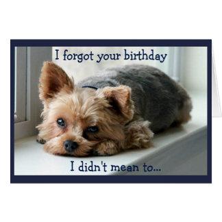 Cartão Aniversário tardivo triste de Yorkie