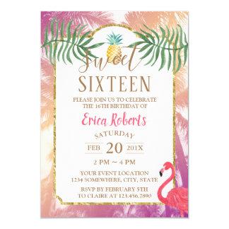Cartão Aniversário tropical do abacaxi & das palmeiras do