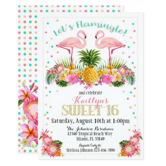 Cartão Aniversário tropical do doce dezesseis do abacaxi