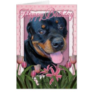 Cartão Aniversário - tulipas cor-de-rosa - Rottweiler -