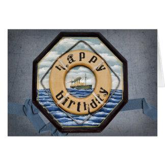 Cartão Aniversário velho do navio a vapor