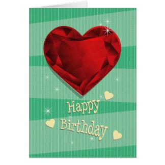 Cartão Aniversário vermelho do coração da grandada de