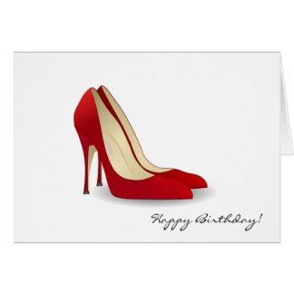 Cartão Aniversário vermelho dos saltos altos