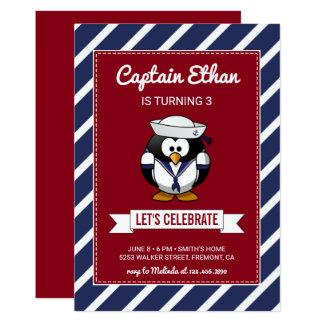 Cartão Aniversário vermelho náutico bonito das listras