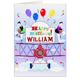 Cartão Aniversários dos balões das acrobatas do avião do