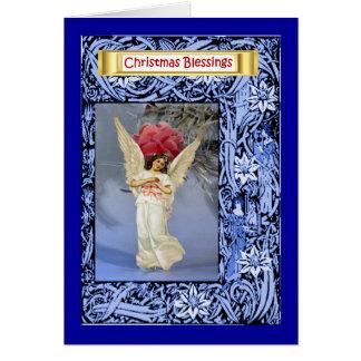 Cartão Anjo ao lado de uma árvore de Natal