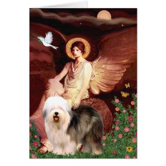 Cartão Anjo assentado - inglês velho (estar)